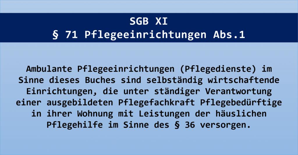 Organisatorische Grundelemente - Auszug SGB XI